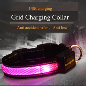 USB Grid Charging Led Dog Collar Reflective Luminous Dog Collar for Golden Retriever Anti Accident Safer Anti Lost Z1127