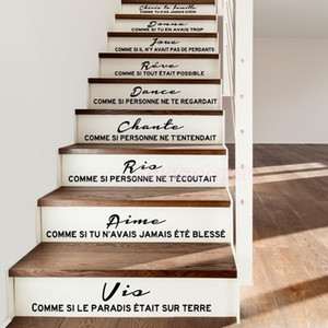Stair Stickers French Citation Cheris Ta Famille Vinyl Wall Decals Mural Art Living Room Home Decor House Decoration Poster 201106