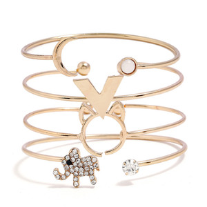 Euro-American Minimalist Style Simple Female Individuality Letter Ring Ring Insert Diamond Animal Bracelet Handwear Four-piece Suit Bracelet