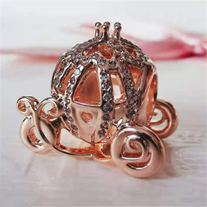 2020 New 100% S925 Sterling Silver Sparkling Carriage Charm Bead Fits European Pandora Jewelry Bracelets Necklaces & Pendants