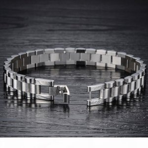 K Whosales -Mens Cool 10mm 21cm Silver 316l Stainless Steel Watch Band Bracelets Length Adjustable Mens Bangle Jewy