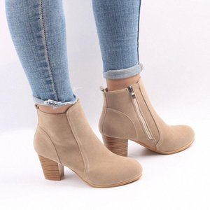 Hot Autumn Winter Women Boots Solid European Ladies shoes boots Suede Leather ankle boots with thick scrub #IZ9g
