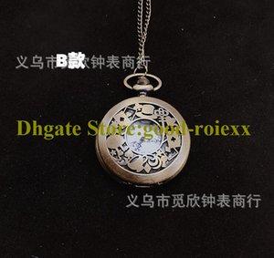 Antike gravierte hohl runde frauen taschenuhr halskette zubehör pullover kette damen hängen herren quarz pocket uhren 00032