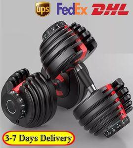 ABD Stok, Ağırlık Ayarlanabilir Dumbbell 5-52.5lbs Fitness Egzersizleri Dumbbells Gücünüzü Ton ve Kaslarınızı Yapın