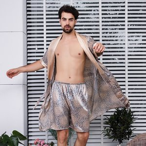 Sexy Sleepwear Pijamas Short-sleeved Men Pajamas Silk Bathrobe Shorts Robe Sets Sleep Tops Mens Lounge Wear Q1202