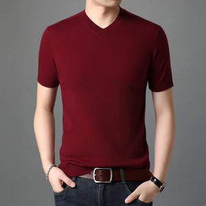 Man Cashmere Jumper 100% Merino Wool T Shirts Short Sleeve Male Solid Color Pure Wool Sweaters Pullovers