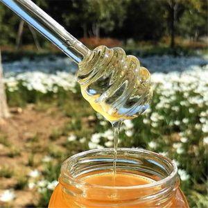 Cuillère de miel Verre Honey Dipper Distributeur Distributeur Stick Stick 6 pouces Verre Honey Sticker Sticiter pour JAR Cuisine Accessoires GGD2766-1
