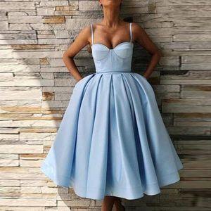 Setwell Spaghetti Bola vestido de fiesta vestidos de fiesta sin mangas plisada satén longitud bebé azul noche fiesta fiesta
