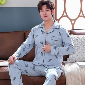 2020 Autumn Winter Long Sleeve 100% Cotton Print Pajama Sets for Men Sleepwear Suit Pyjama Male Homewear Loungewear Home Clothes Q1202