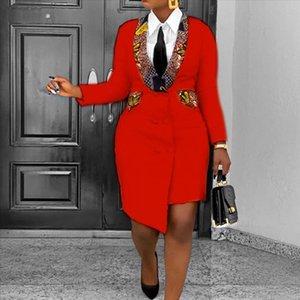 OL Office Ladies Blazer Dress Fashion African Style 3XL Irregular Spring Long Sleeve Yellow Asymmetric Bodycon Plus Size Dresses