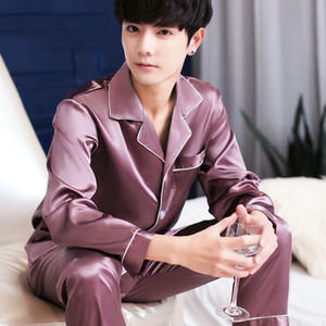 2020 New Hombre Stay Pajama Set Silk Sleepwear Sexy Style Moderno Soft Cozy Satin Nightgown Men Sets Q1202