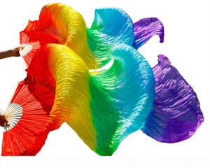 2018 Hot sale women 100% real silk belly dance fan veils of belly dance fans rainbow color (2pcs)