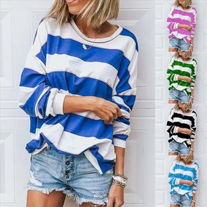Fashion Striped Print Blouse Shirt Loose O Neck Tops Tee Casual Autumn Winter Ladies Female Women Long Sleeve Blusas Pullover