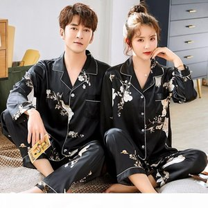 Plus Size 3XL Floral Print Couple Pajamas Sets Satin Silky 2PCS Shirt&Pants Lovers' Pyjamas Suit Casual Sleep Set Home Clothes