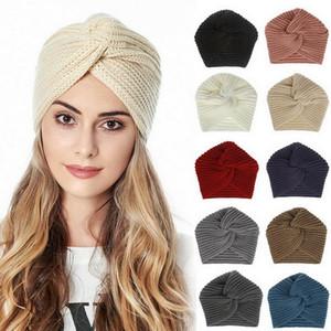 Boho Style Women Knot Bandanas Fashion Knitting Warm Muslim Scarf 2020 Autumn Winter Turban Cap Solid Color Cross Headscarf