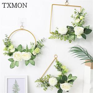 New wedding props ring wrought iron single pole ring curtain circle hollow round wedding stage decorative custom made Iron shelf