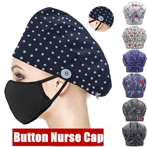 13 Colors Unisexs Surgical Scrub Cap Doctor Nurse Bouffant Hat Adjustable Head Cover Scrub Cap with Buttons