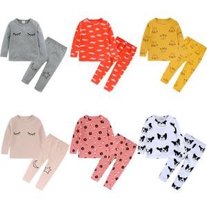 Kt ins 6 цвета newboen дети девочки девушки пижамы наборы мальчики детей мультфильм медведь пижамы домашняя одежда хлопчатобумажная малыша