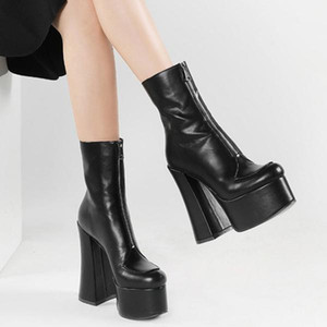 Solid PU Upper High Platform Mid-Calf Front Zip Women Boots Round Toe Boots Shoes Fashion Party Chunky Heel Booties For Ladies