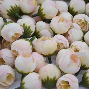 20 шт. 2 см Искусственная роза Бутон маленький шелковый цветок чайной головки для свадьбы дома украшения вечеринки DIY венок скрапбукинг ремесла