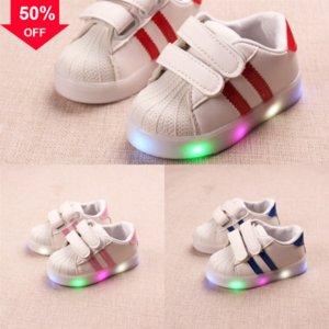 BAMBINI Anti-slip luminosi Mescoli traspiranti LED Sportswear Tempo libero Las Led Sneakers Scarpa Shoe Light Flash Net Fibra ottica Scarpe Breatbl