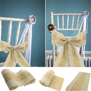 5pcs pack Burlap Chair bow-shaped Linen Ribbon Banquet Wedding Party Baby Shower Craft Chair Cover Decoration