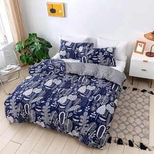 Duvet Cover Set Queen Size Plant Pattern Quilt Cover With Pillowcase For Double Bed Simple Style Bedclothes Set
