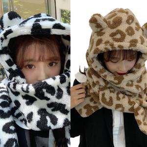 Women Winter Thick Warm Fuzzy Plush Long Scarf Hooded Hat Cute Bear Ears Milk Cow Print Earflap Cap Thermal Neck Warmer