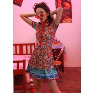 2020 Qipao Mujeres Vintage Cheongsams Satin Bordado Estilo oriental Vestidos China Novia Vintage Tradicional Boda Cheongsam1