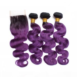 Purple Ombre Human Hair Weave Bundles with Top Closure Body Wave Black and Purple Ombre Virgin Hair Extensions with 4x4 Lace Closure