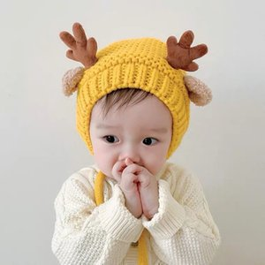 5 Colors Baby Knitted Hat Autumn And Winter Infant Cute Antler Wool Hat Children Cartoon Ear Protection Warm Hat AHA2528