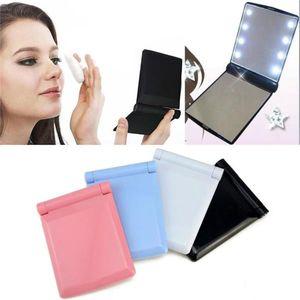 Fashion Women Mini Lady LED Makeup Mirror Cosmetic Folding Portable Compact Pocket with 8 LED Lights Makeup Tool Nice Gift 6pcs