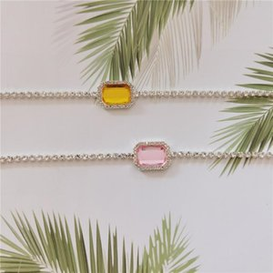 10pcs Kpop Iced Out Chain Choker Rhinestone Charm Necklace For Women Christmas Gift Fashion Jewelry Yellow Pink Crystal Collar
