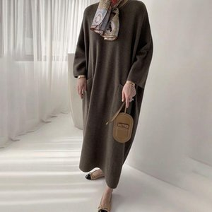 Dress Korean 2020 New Style Loose With Pocket Long Warm Pullover Mid-Calf Plain Nine Points Sleeve Knee-Length Winter