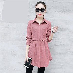 2019 summer new women blouse and shirts solid slim long turn down collar office lady elegant shirts outwear tops