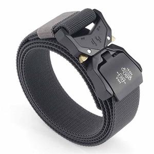 Elastic Jeans Belt For Men Aluminum Alloy Pluggable Buckle Training Tactical Belts Comfortable High Quality Male Belt Hunting 201117