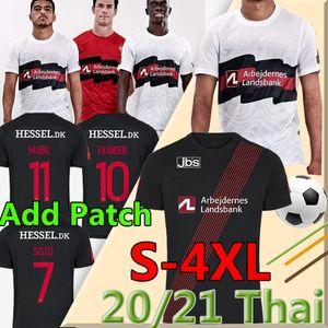 Talla S-4XL FC Midtjylland Custom Fútbol Jerseys 2020 21 Black White Kaba Dreyer Sisto Mabil Sviatchenko Evander Hombres Camisa de fútbol FODBOLD