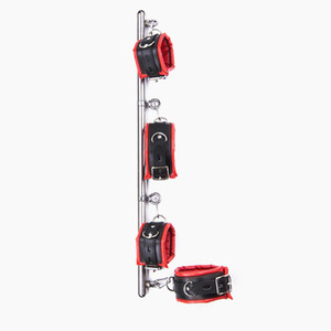 Spread Bar with Wrist Ankle Cuffs Handcuffs BDSM Bondage Gear Hand Leg Restraints Adult Games Sex Toys for Her Black Red GNZHTY016