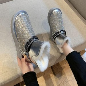 Hot Sale-Women Snow Boots Bling Flat Ladies Fur Ankle Boots Winter Warm Crystal Female Short Furry Booties Causal Woman Fashion Shoes
