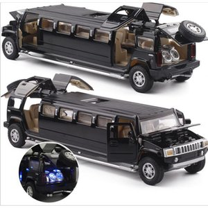 High Simulation 1:32 Alloy Hummer Limousine Metal Diecast Car Model Pull Back Flashing Musical Vehicles Kids Gift Children's Toy Z1124