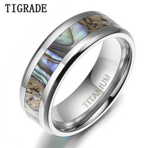 TIGRADE 6 / 8mm anillo de titanio para hombre abalone shell inlay anillo pulido acabado biselado marca banda banda banda pareja anel masculi