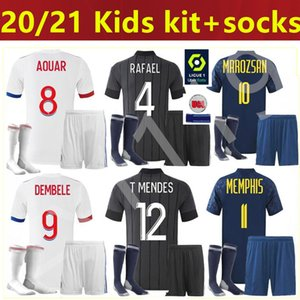 الرجال Kids Kit 20 21 Mailleot de Foot Olympique Lyonnais Soccer Jersey 2020 2021 OL Lyon Maillot De Foot Traore Memphis Football Commet