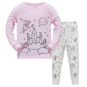 Hayvanlar Kız Giyim Setleri Uzun Kollu Bebek Kız Pijama Baykuşlar Sıcak Satış Tops + Pantolon Pamuk Pijama Çocuk Nightclothes 201126
