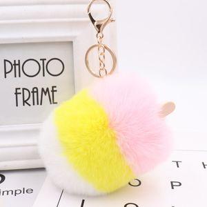 Luxury ice cream ball pendant PU leather plush Keychain rings Rex rabbit fur women's bag car pendant NE1188