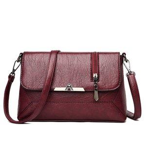 Solid Color Pu Leather Vintage Crossbody Bags for Women 2020 Flap Metal Lock Purse and Handbags Tassel Shoulder Messenger Bags