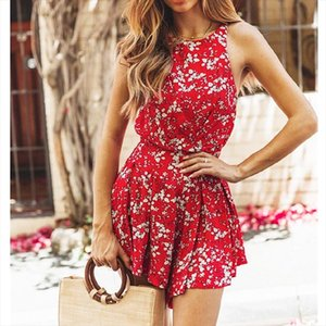 Women Boho Floral Rompers Ladies Backless Summer Beach Short Playsuit Fashion Ladies Sleeveless O Neck Holiday Jumpsuit New