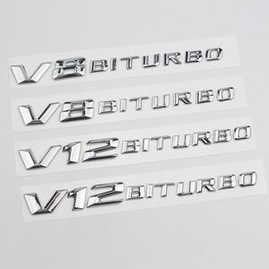 V8 V12 Bitroubo Letters Emblem Badge Fender Side SuperCharge Turbo Logo إعادة تجديد ملصقات السيارات لمرسيدس بنز C63 سيارة التصميم