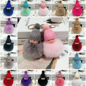 Cute Sleeping Baby Doll Soft Rabbit Fur Ball Pom Poms Plush chain Car Key ring Bag Keychain With Fast Shipping DHF1676