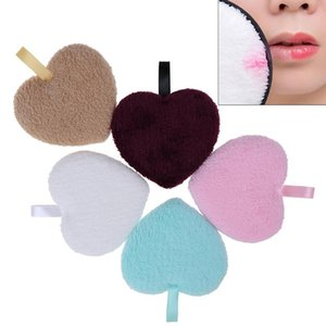 1Pcs Heart Shaped Makeup Remover Puff Reusable Face Washing Cotton Cloth Pads Cleansing Towel