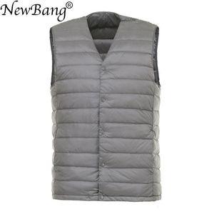 NewBang Men Down Vest Ultra Light Down Vest Portable V-neck Sleeveless Coat Man Winter Without Collar Warm Liner